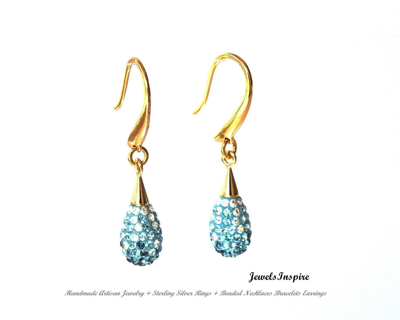 Blue Crystal Swarovski Teardrop Earrings, Swarovski Pave