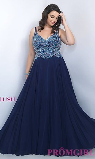 35472352456 Long V-Neck Open Back Plus Size Prom Dress by Blush at PromGirl.com ...