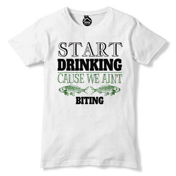 bc7b30d2 Start DRINKING We Aint BITING T Shirt, Funny Fishing T Shirt, Funny T Shirt,  Angling, Bait, Fathers Day Tshirt 735 #FunnyTshirt #FashionTshirt  #WomensTShirt ...