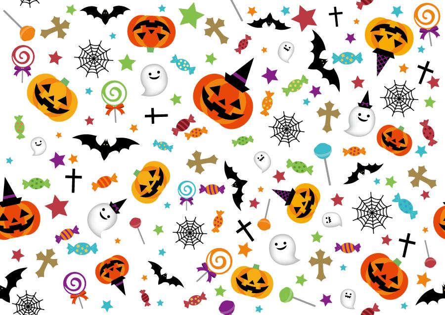フリー イラストジャックランタンとお化けのハロウィン背景