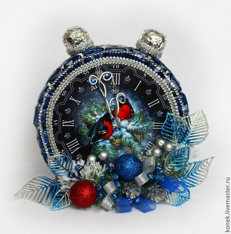 Купить Будильник из конфет Снегири - сладкий подарок, часы, будильник, сладкий, подарок, подарок девушке