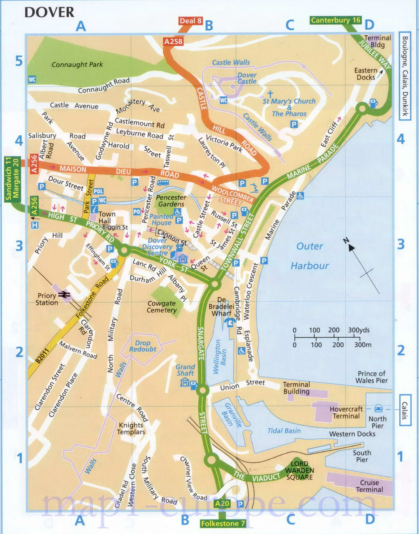 Map Of England Dover.Map Of Dower Detailed Street Map Of Dover England Uk Map Of
