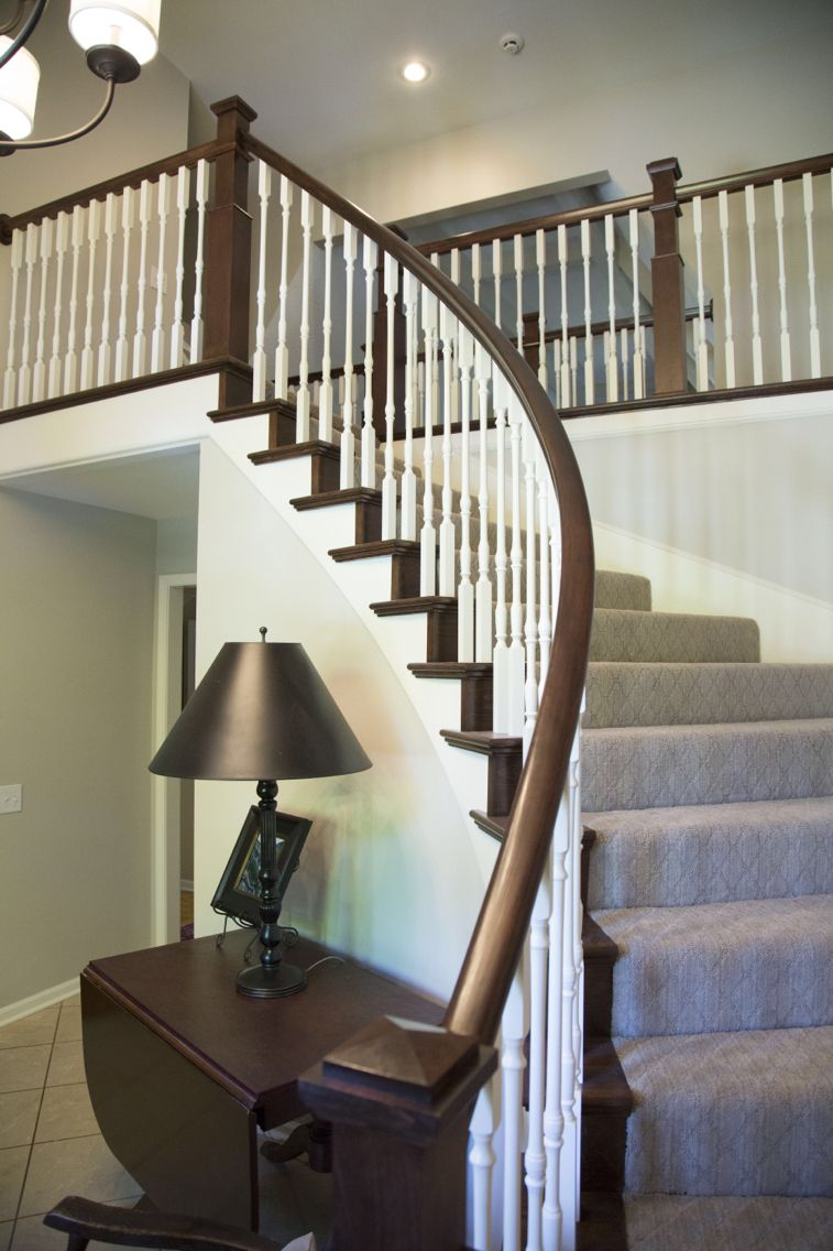 Best Curved Staircase With Wooden Balusters Tread Caps And 400 x 300