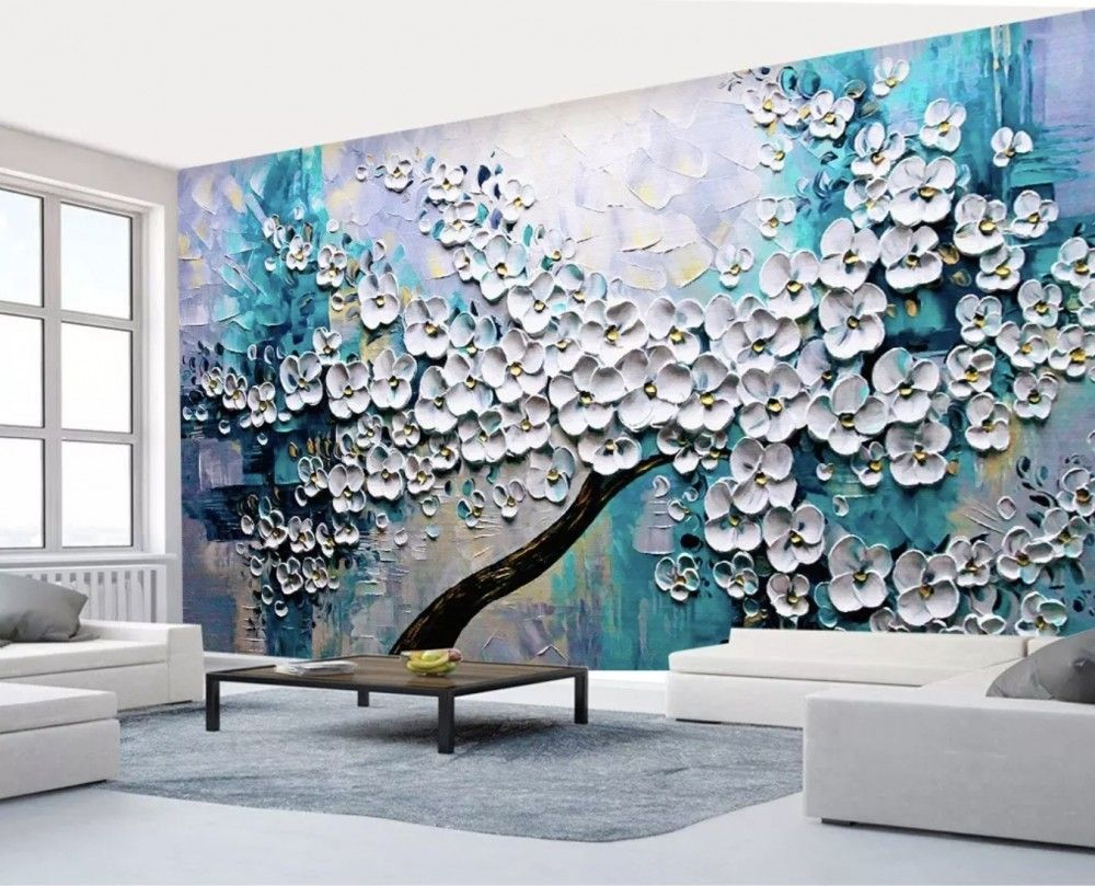 Deco Salon Gris Rose Blanc 3d embossed look oil painting white blossom tree wallpaper