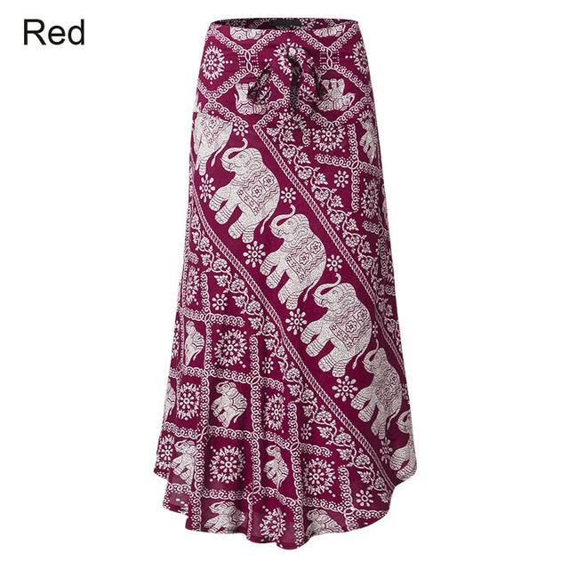 4c62964e7d72b Boho Style 2018 Summer Celmia Women Long Skirt Vintage Floral Elephant  Print High Waist Beach Skirt Maxi Skirt Plus Size S-3XL