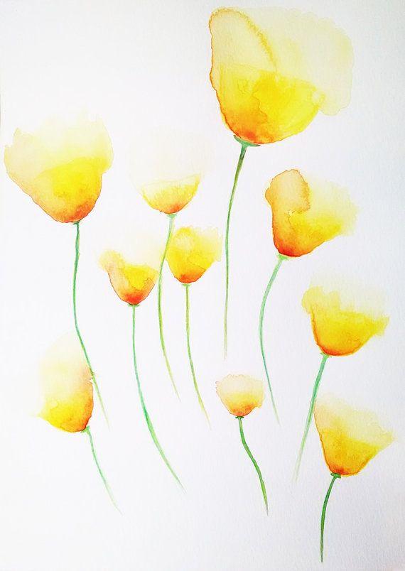Gelber Mohn Blumen Sommerzeit 8 X 10 Print Floral Watercolor Paintings Watercolor Paintings For Beginners Watercolor Poppies