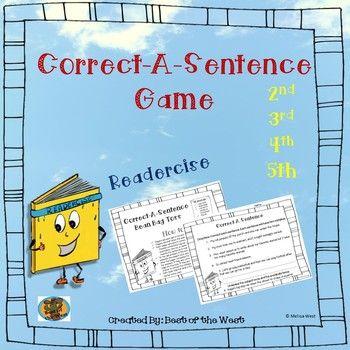 Correct-A-Sentence Game | Grammar skills, Sentences ...