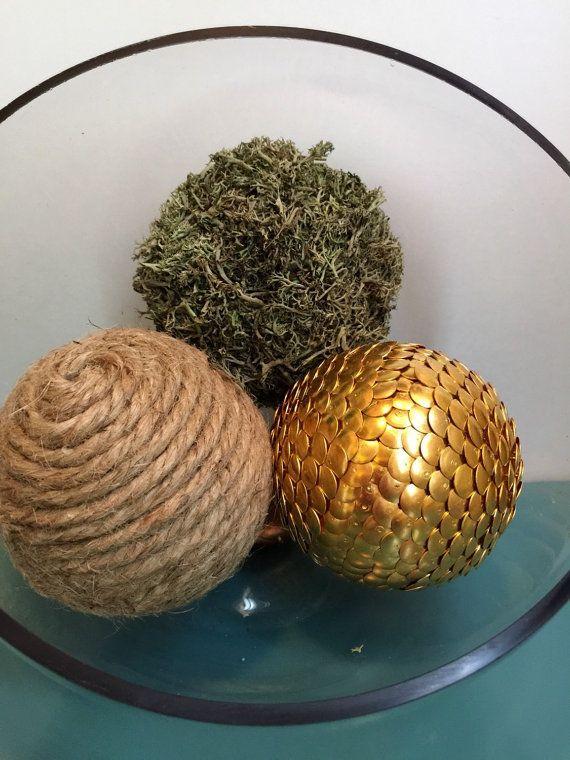 Decorative Balls For Bowls Twine Moss And Gold Vase Filler Balls Bowl Filler Shelf Filler
