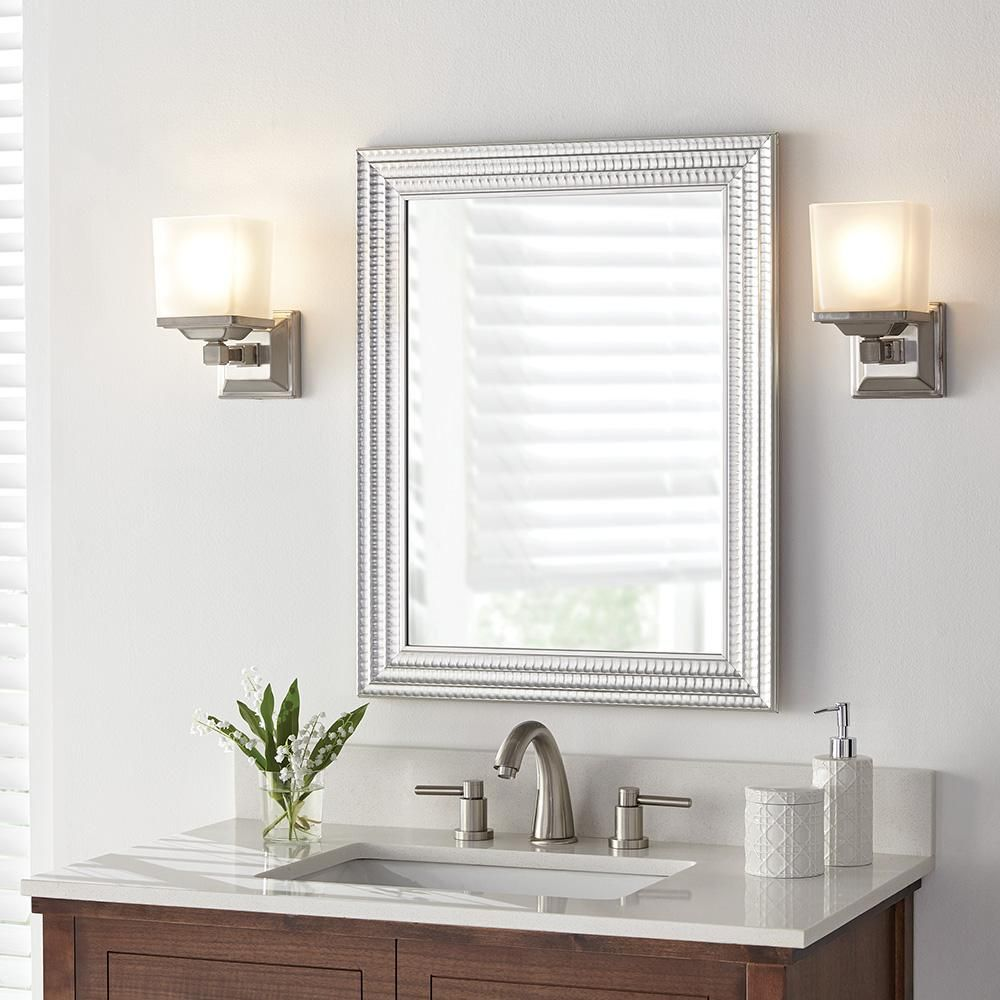 Home Decorators Collection 22 In W X 27 In H Framed Rectangular Anti Fog Bathroom Vanity Mirror In Silver 45384 The Home Depot In 2020 Home Decorators Collection Framed Mirror Wall Mirror