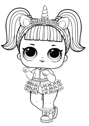 LOL Surprise Doll Unicorn Coloring page Imprimir sobres