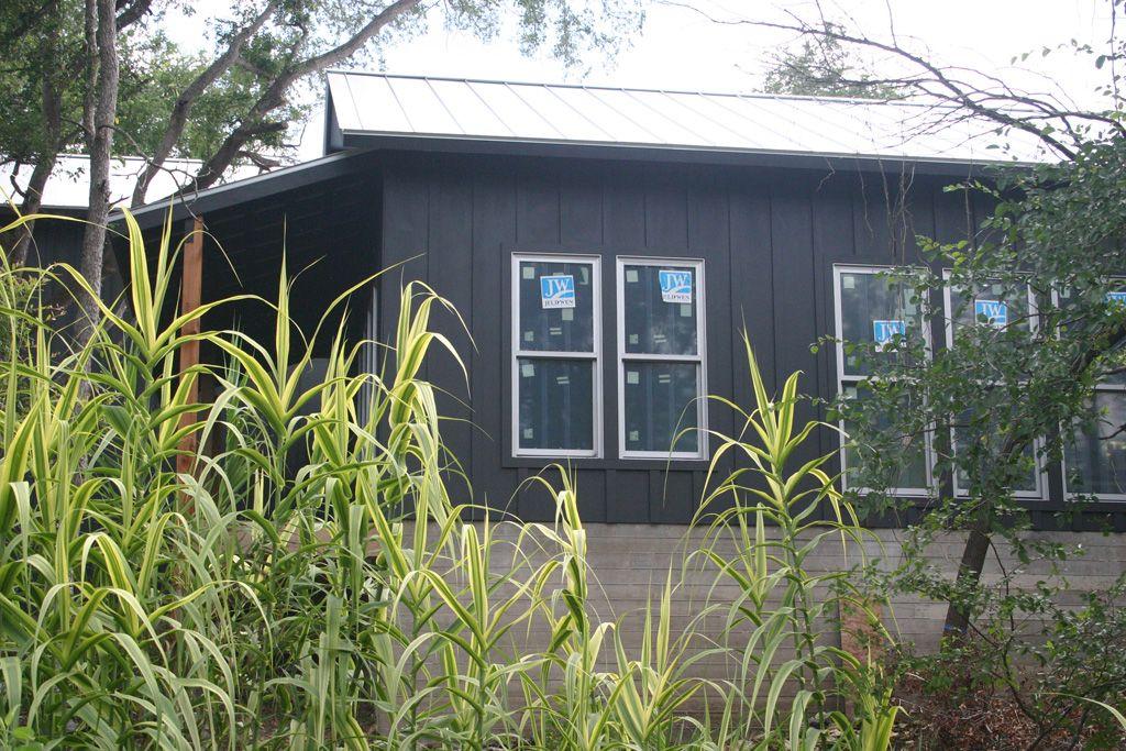 Side view of modern farmhouse board and batten siding