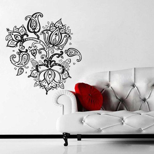 Wall decal art decor decals sticker mehendi flower tattoo buddhism india indian yoga buddha m99 on etsy 27 98