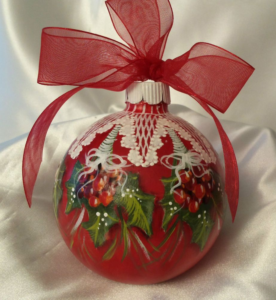 Hand Painted Christmas Ornament Cottage Chic Holly & Berries & Lace