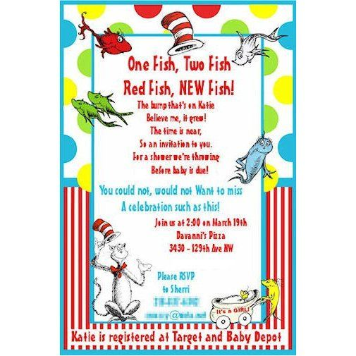 How To Plan A Dr. Seuss Themed Baby Shower: Dr. Seuss Baby Shower  Invitations