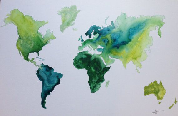 Canvas watercolor worldmap 24x36 gumiabroncs Gallery