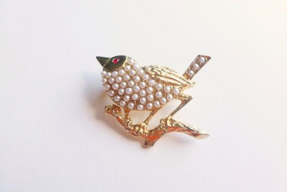 Vintage Bird Brooch Inset Pearls Red by FunkyMaMaJewelry on Etsy, $17.00