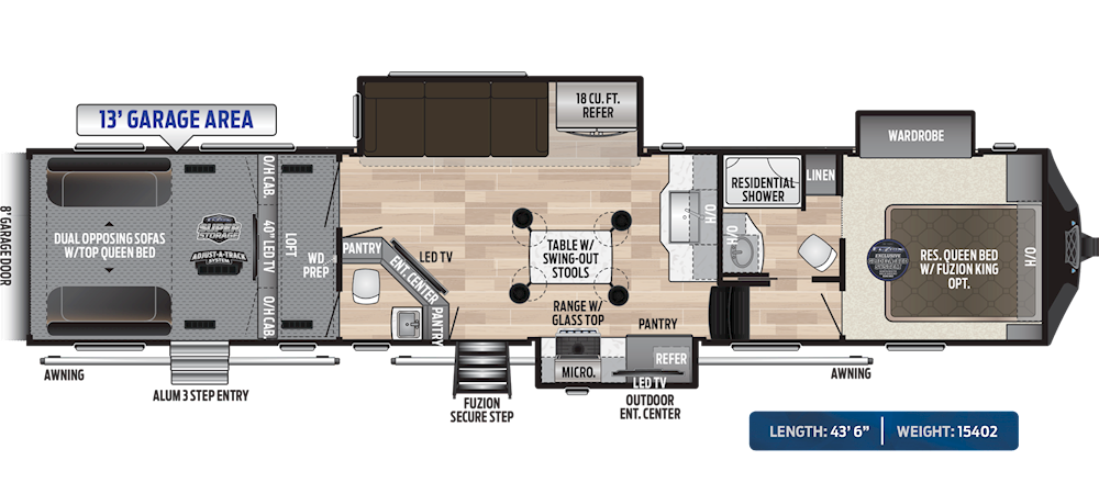 Fuzion Toy Haulers Floorplans Keystone Rv Visit Our Website To View Current Floorplans Floor Plans Toy Hauler Tv Options