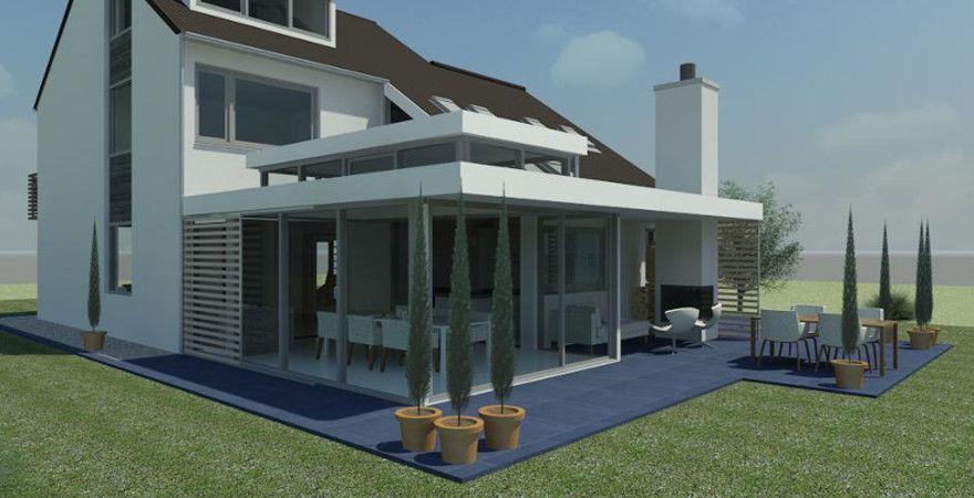 Het dak mag groter zijn dan de veranda en een afdak vormen? + ideetje als lichtkoepel boven de tafel (zonder regen op glas)