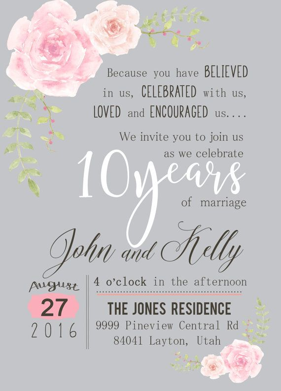custom watercolor flower 10th year anniversary invitation soft pink