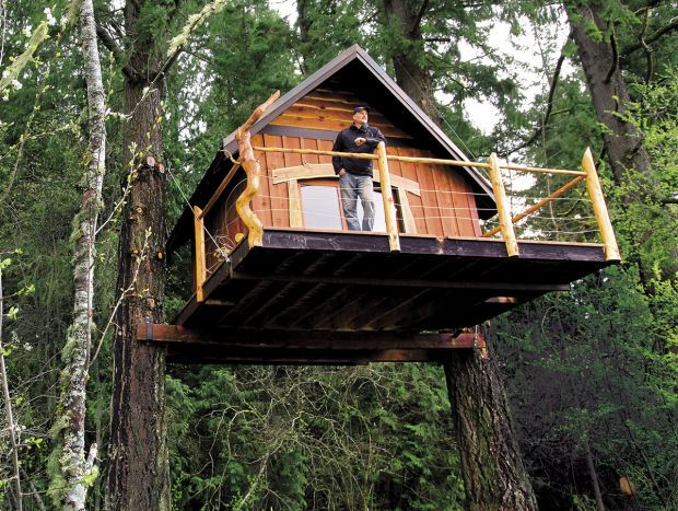 Rotating cube storage tower tree houses tree house for Tree house ideas plans