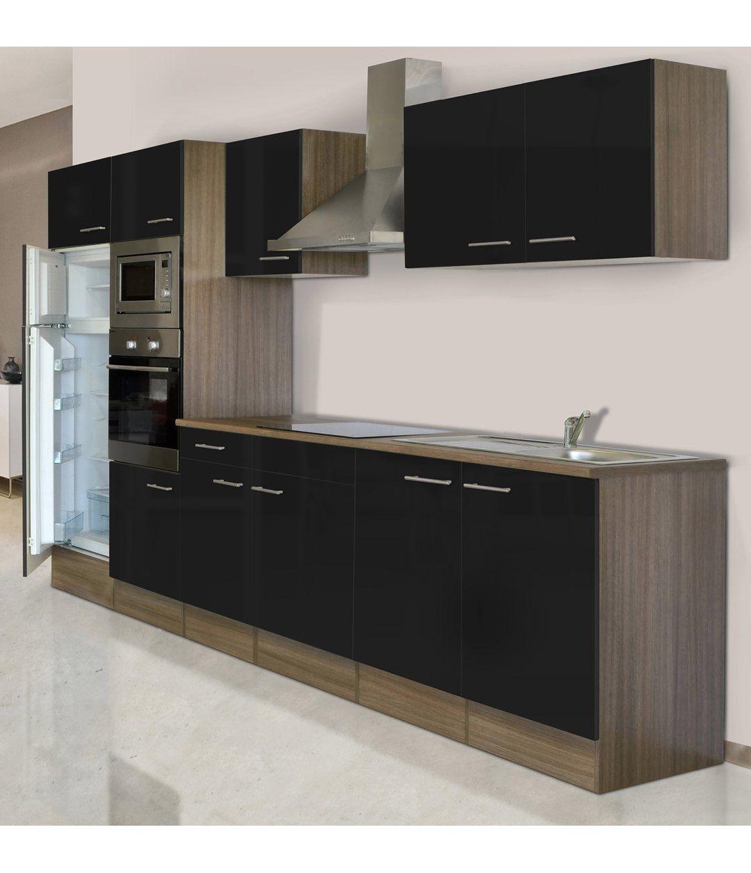 Respekta Küchenzeile KB330EYSMIGKE 330 cm SchwarzEiche