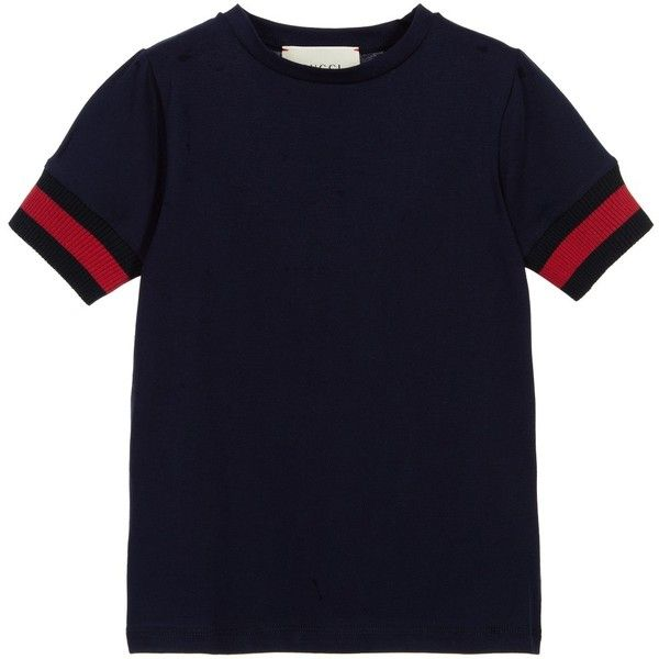 Gucci Boys Navy Blue Cotton T-Shirt (1.800 ARS) ❤ liked on Polyvore featuring twins