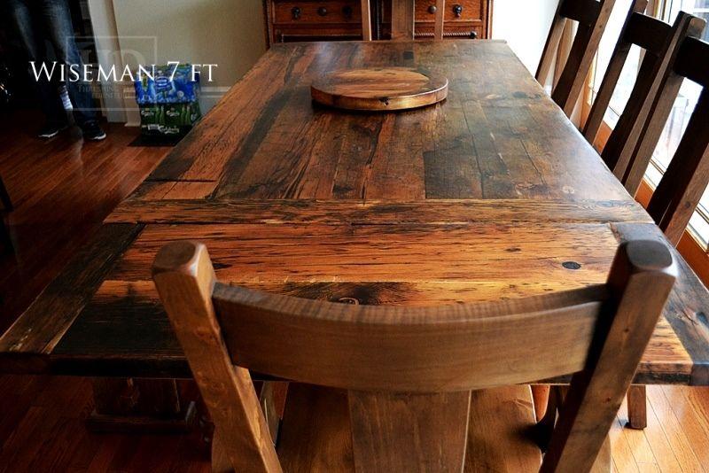 Reclaimed wood harvest table with epoxy polyurethane