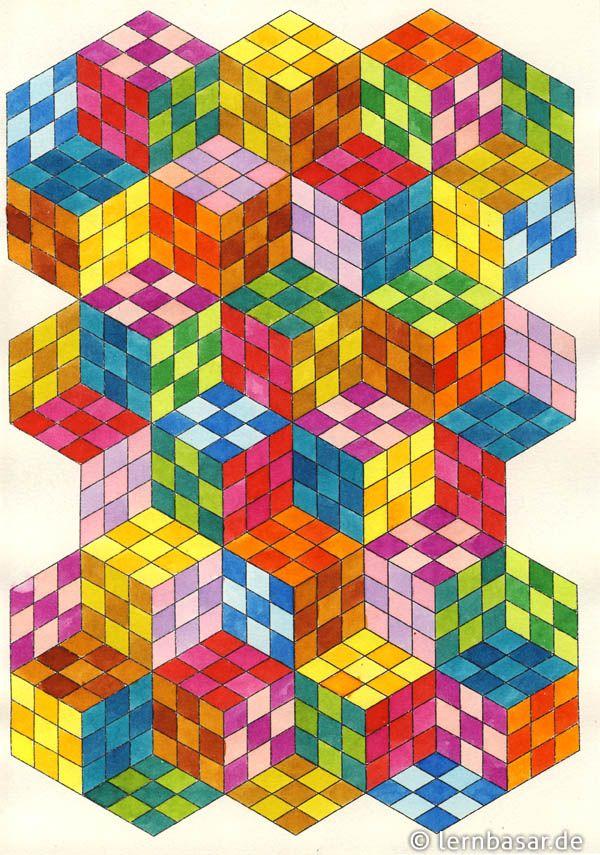 Wurfel In 3d Geometrisches Zeichnen Papierzeichnung Kunst Auf Papier