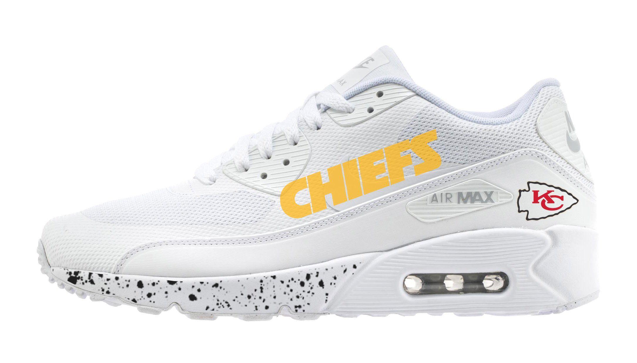 27e2a847187 Bandana Fever KC Chiefs Print Custom White Nike Air Max Shoes ...