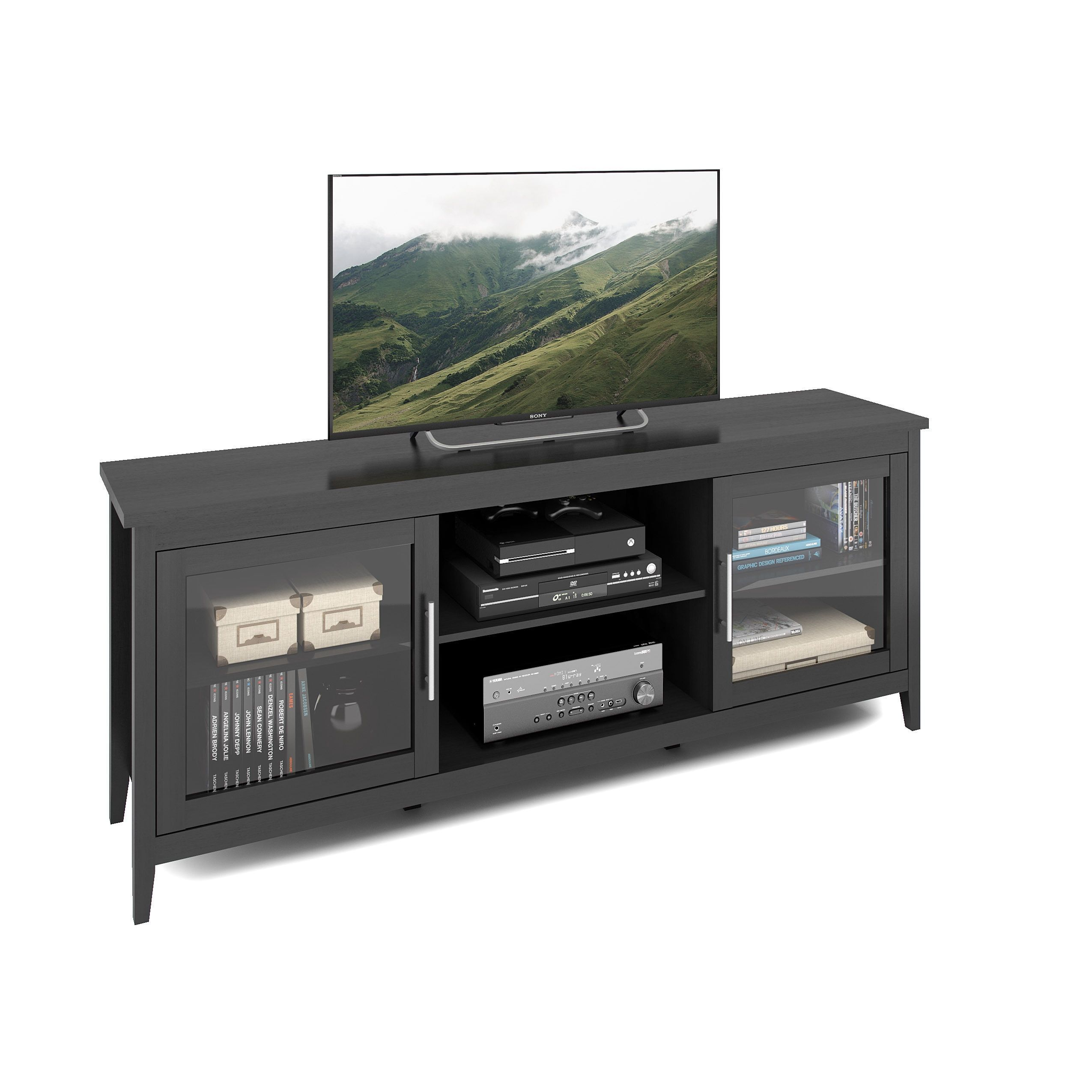 Corliving Tfp 684 B Jackson 71 Inch Extra Wide Tv Bench For Tvs Up