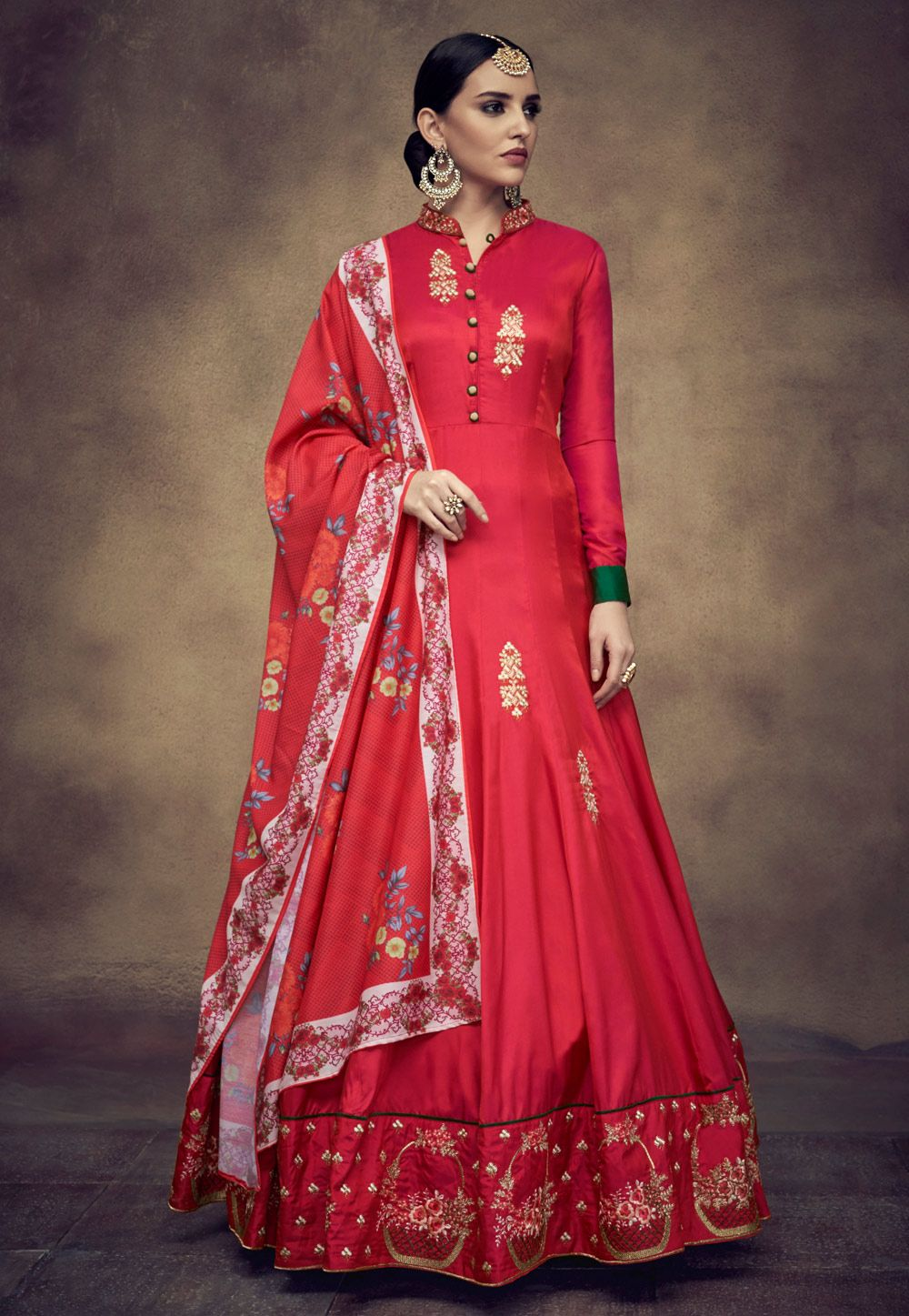 9e4147ec5 Buy Red Taffeta Readymade Long Anarkali Suit 157230 online at lowest price  from huge collection of salwar kameez at Indianclothstore.com.