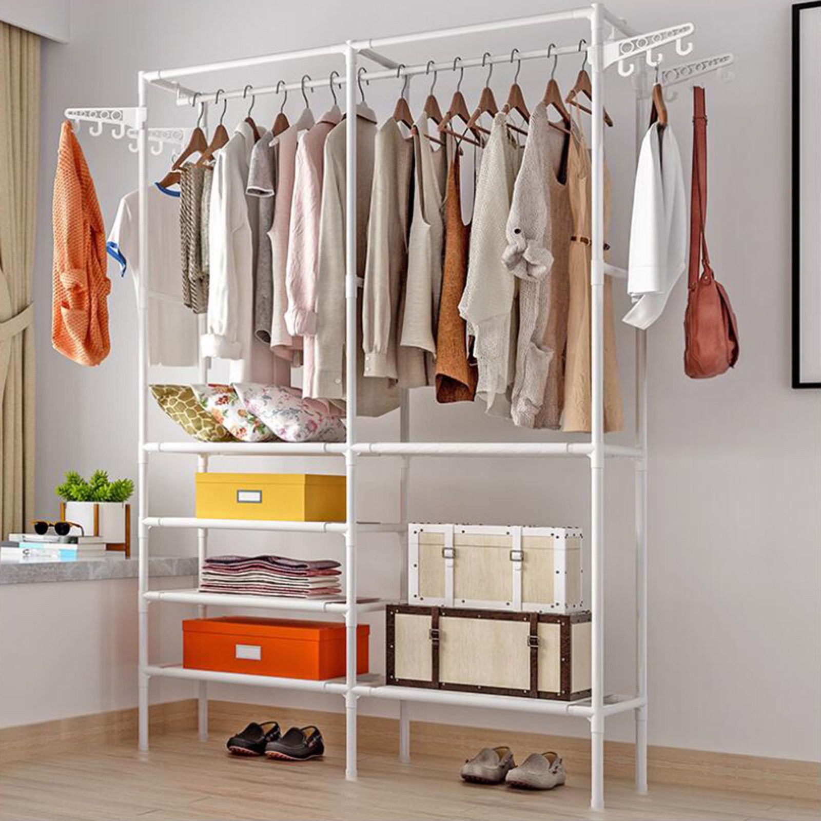 Portable Closet Organizer Storage Rack Clothes Hanger Garment Shelf Rack 2 Col Wardrobe Storage Storage Closet Organization Closet Shelf Organization