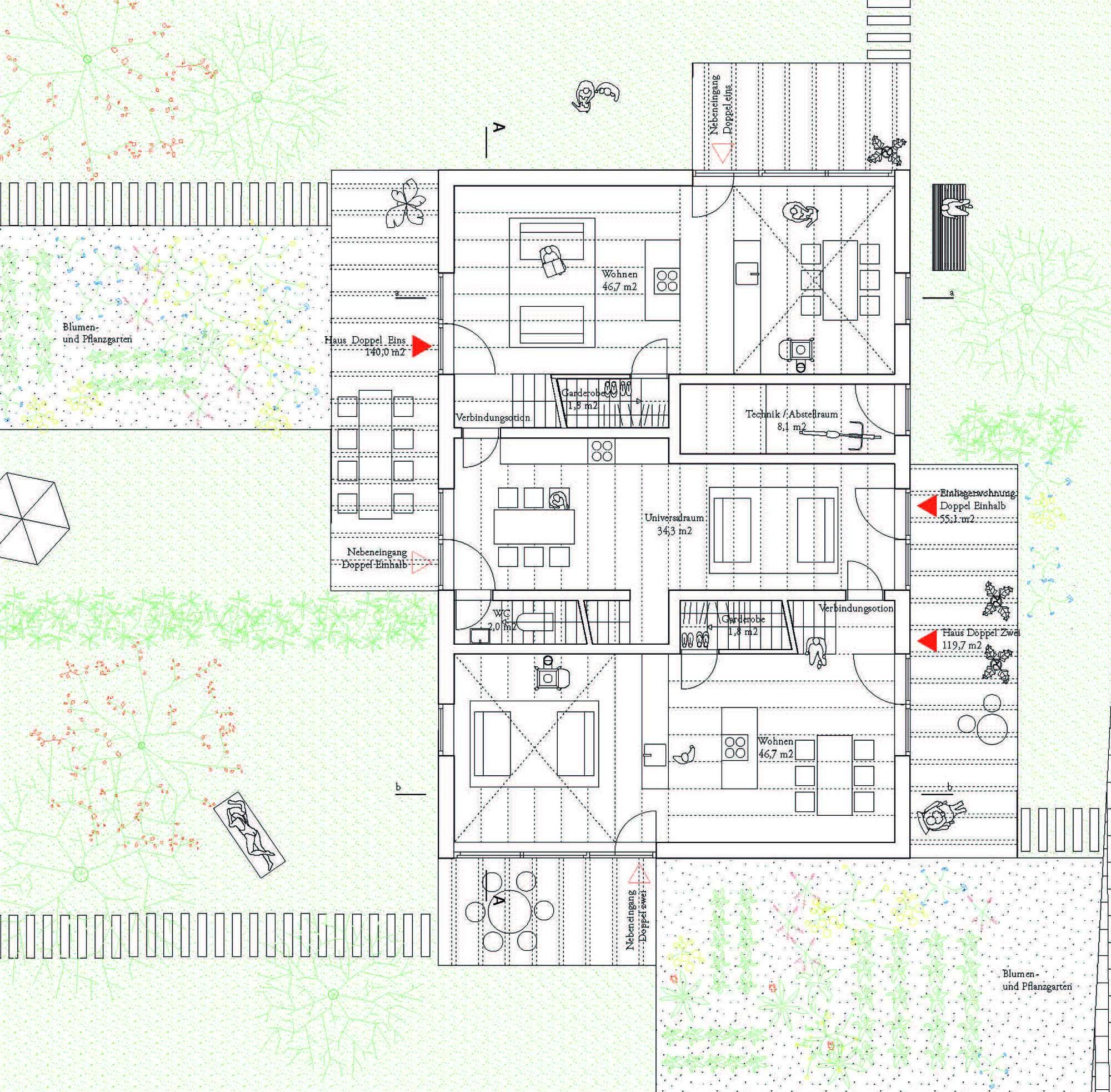 Teilnahme Eigenheimquartier Grundriss Lageplan DH, © BeL