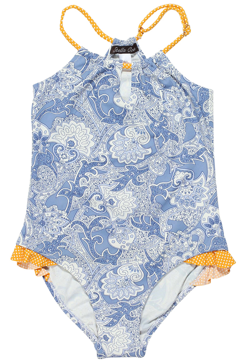 Paisley In Retro Blue Swimsuit For Girls. A great colour swimsuit choice for your little girl, the Retro pint swimsuit in blue will surely make her happy