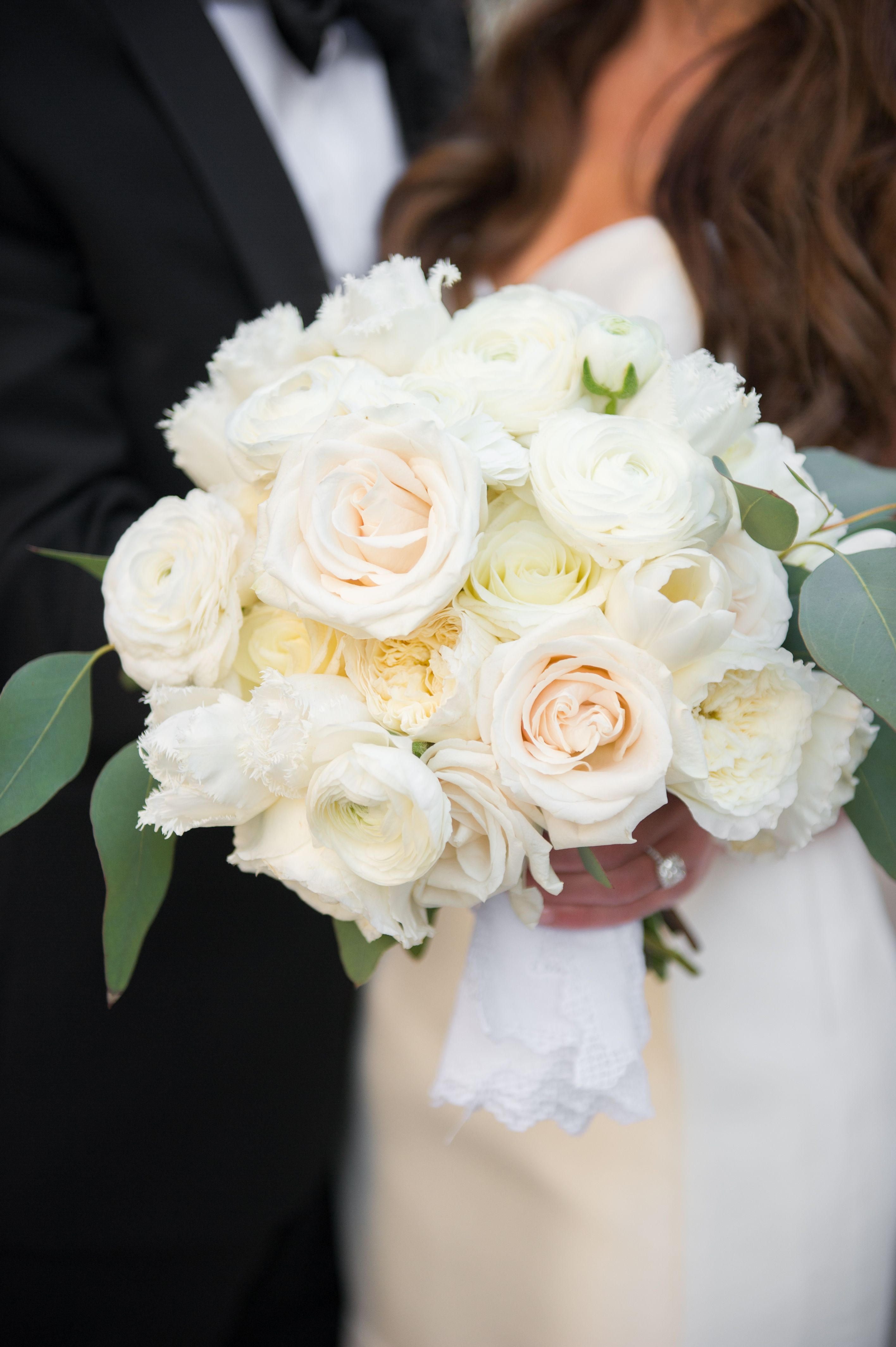 Ivory Asymmetrical Bridal Bouquet With Fringe Tulips Garden Roses
