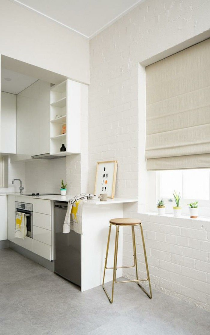 High Quality White Wall Paint Kitchen Light Grey Floor Tiles White Brick Wall