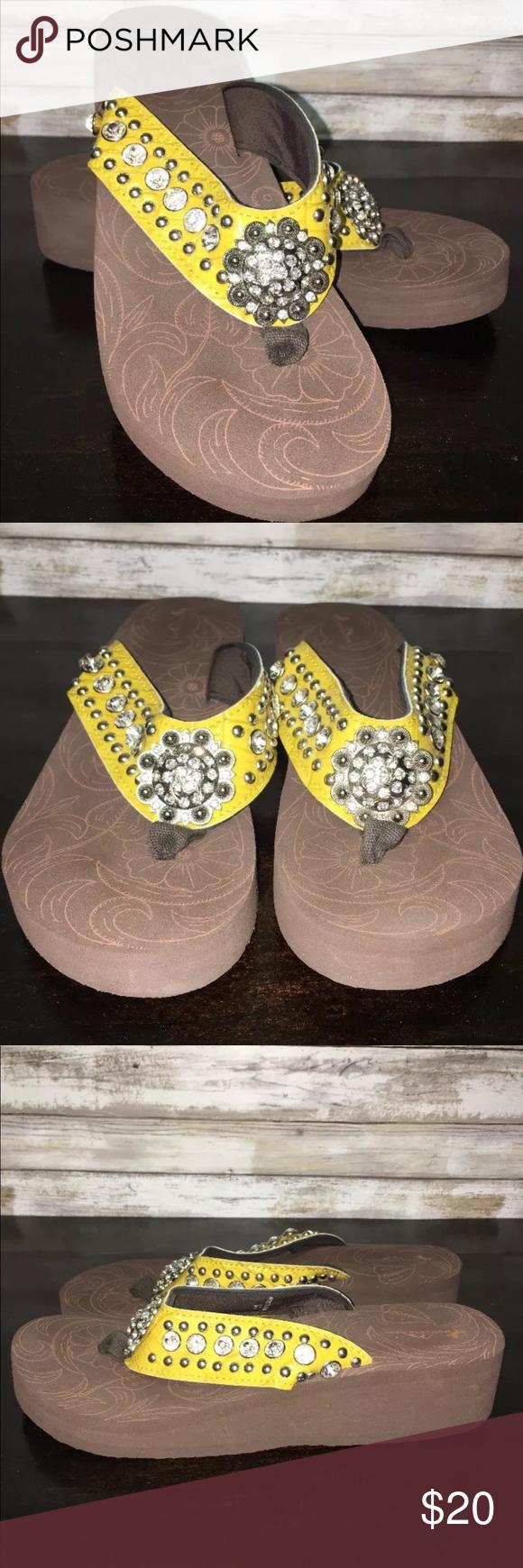 a94f71660475e9 Bling Flip Flops Montana West Yellow Wedge 11 Bling Flip Flops Montana West Rhinestone  Cushion Wedge
