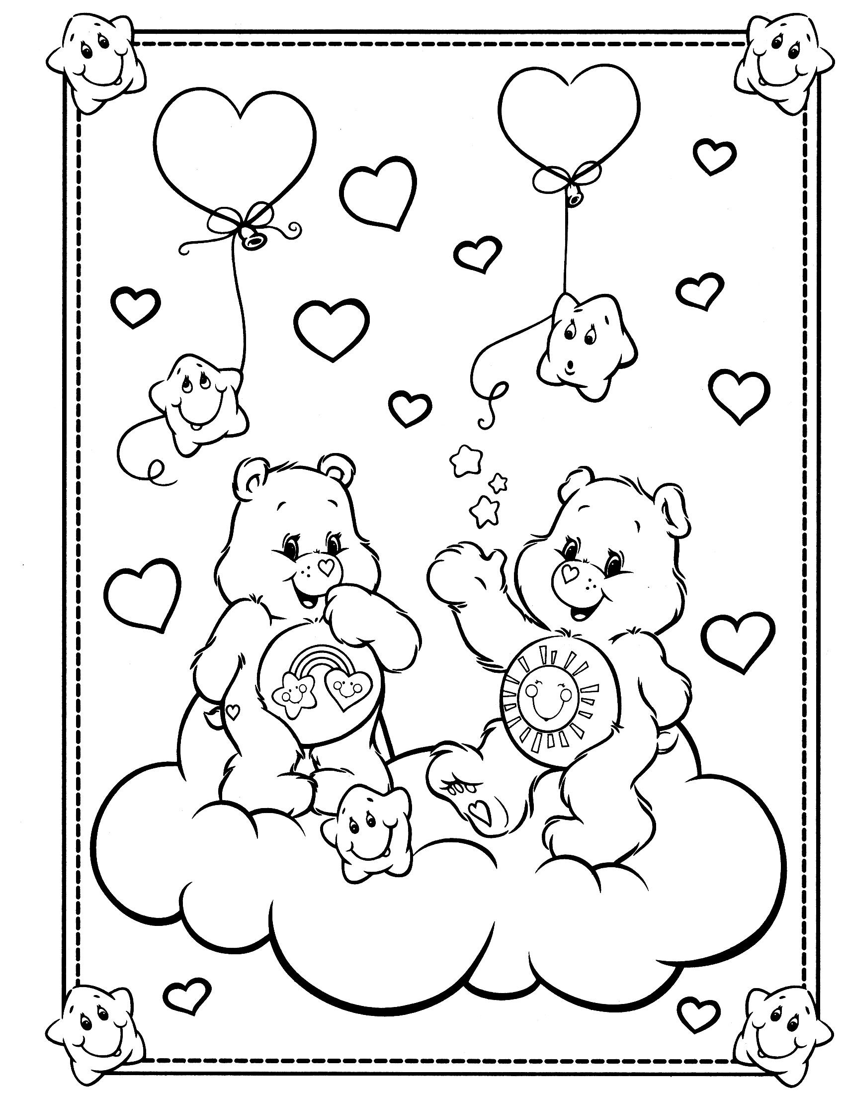 care bears coloring page embroider