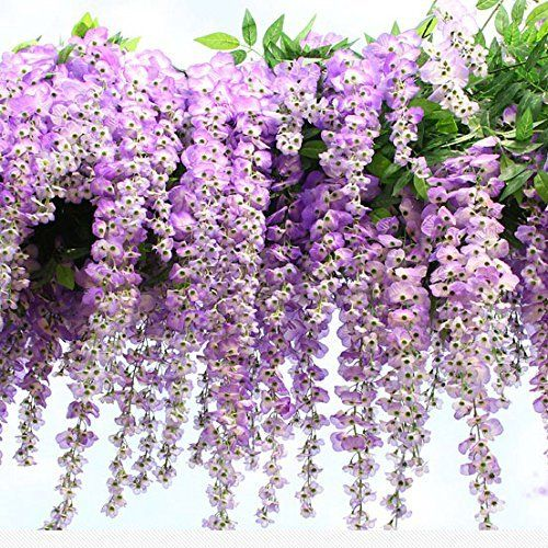 Amazon Com 3 4 Ft Realistic Romantic Classic Artificial Fake Wisteria Vine Ratta Silk Flowers For Garden Flora Diy Floral Decor Flowering Vines Hanging Vines