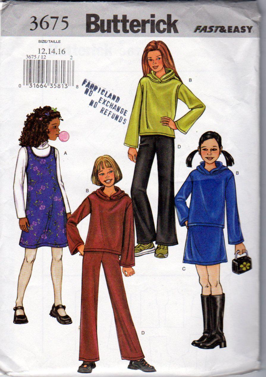 Girls Jumper, Hoodie  Top, Skirt and  Pant Suit  Sewing Pattern, Butterick 3675, Girls Sizes 12, 14 and 16, Uncut, Hoodie Top Pattern by OnceUponAnHeirloom on Etsy
