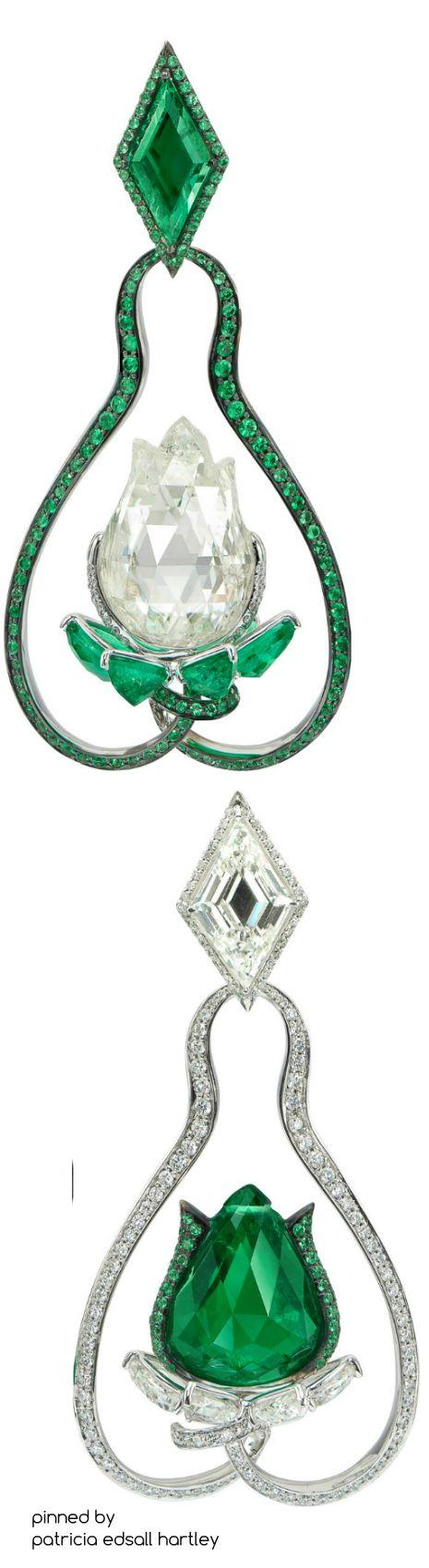 Boghossian High Jewellery emerald and diamond lotus flower earrings