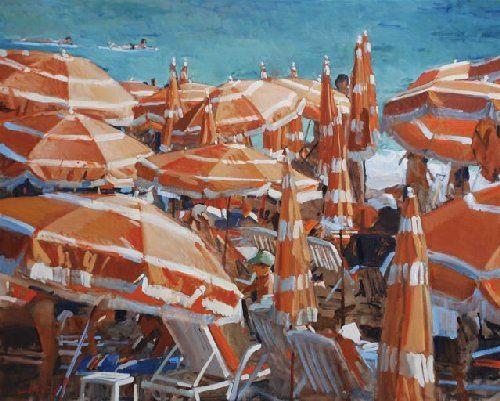 Orange Umbrellas Juan les Pains by Paul Rafferty.
