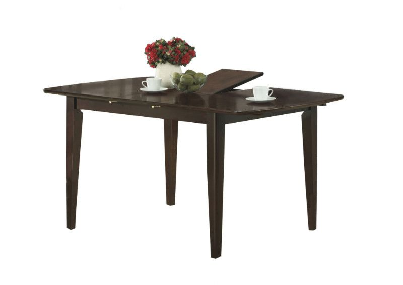 Dining Table 36 X 48 X 60 Cappuccino With A Leaf Dining Table Rectangular Dining Table Dining Table With Leaf