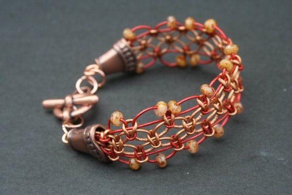 Metallic leather macrame bracelet