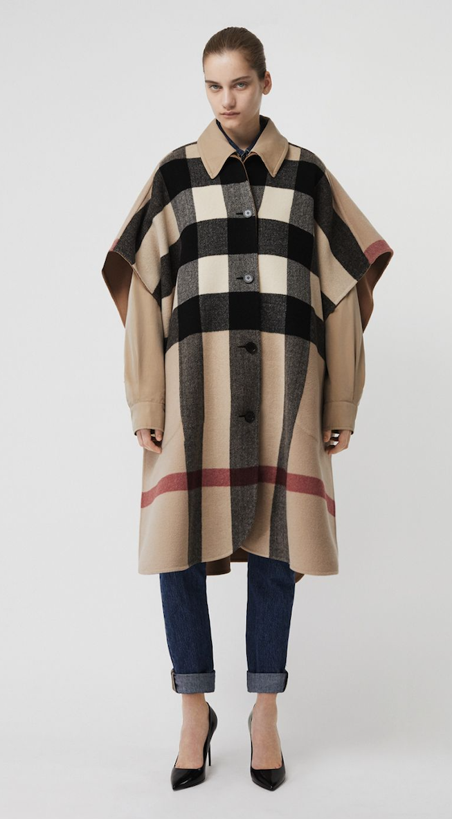 A Wool Closures By Tab Blend Button Fastening Poncho Reversible burberry Adjust The Check In Underarm Fit Relaxed Insulating Made Italy From An PwSPqg1r