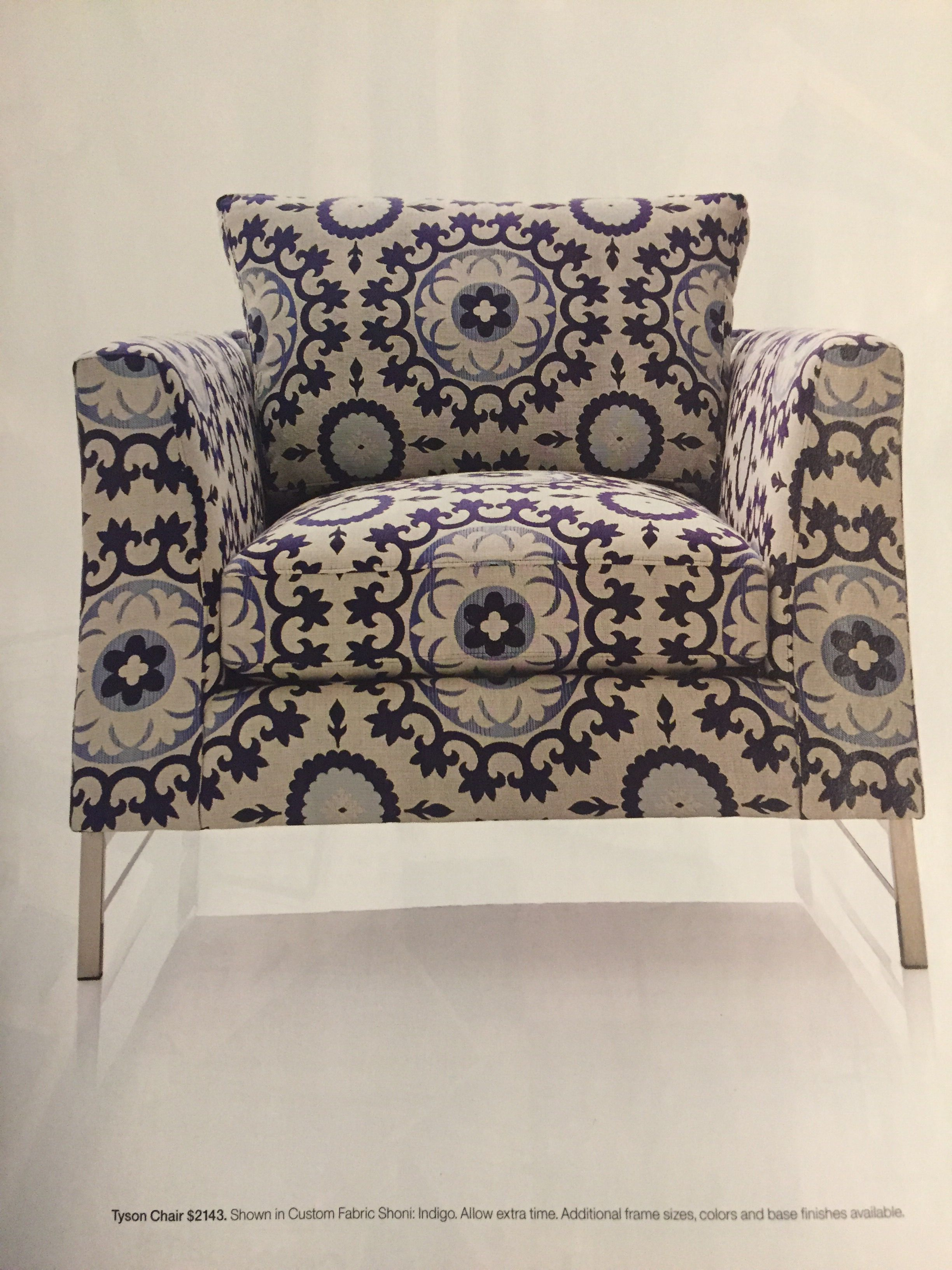 Tyson Chair in custom fabric Shoni Indigo from Crate and