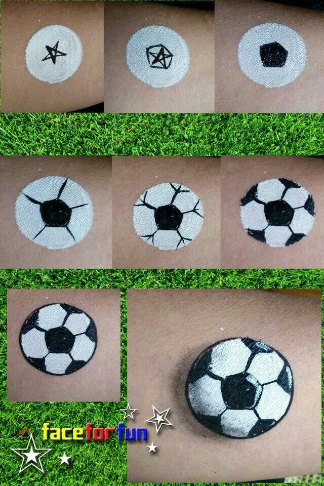Step By Soccer Ball Face Painting