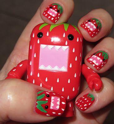 Strawberry Domo Kun (from Marias Nail Art and Polish Blog)
