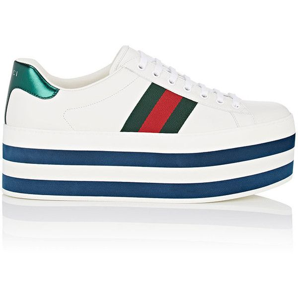 6dc01b46c Gucci Men's New Ace Leather Platform Sneakers ($950) ❤ liked on Polyvore  featuring men's