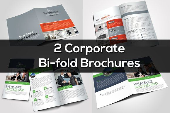 2 Corporate Bi Fold Brochure Bundle Business Flyers Brochures And